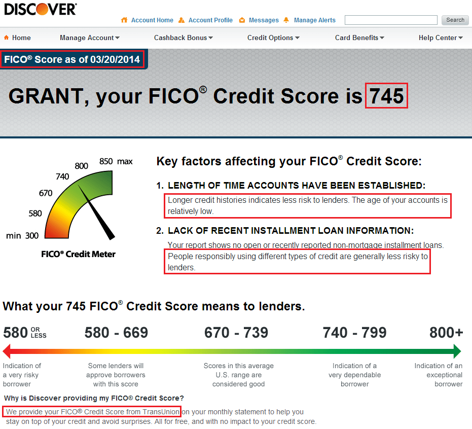 Free Fico Credit Score Discover Card
