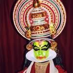 The beautiful costume of a Kathakali dancer
