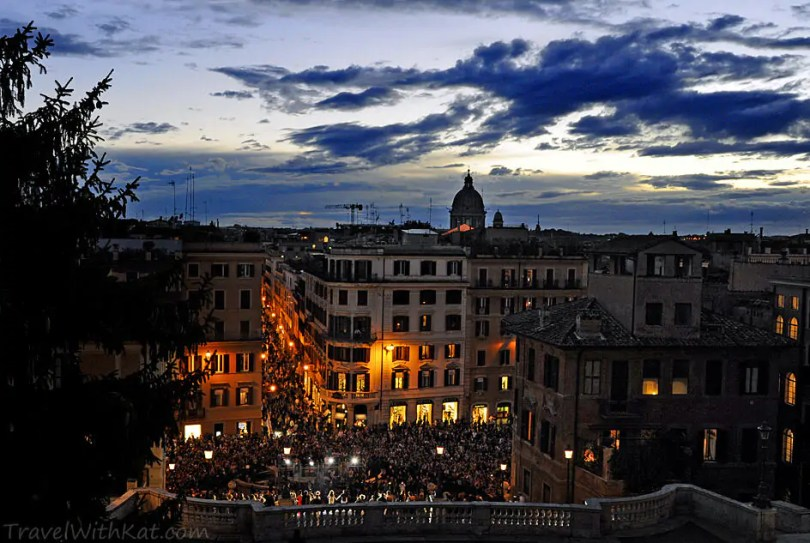 A particularly busy night by the Spanish Steps for a Vogue fashion show.