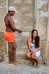 Ladies brading their hair in Mindelo