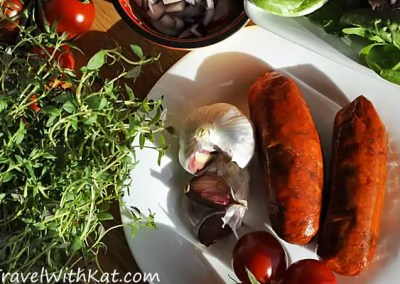 Red Wine Braised Chorizo from Asturias, Spain