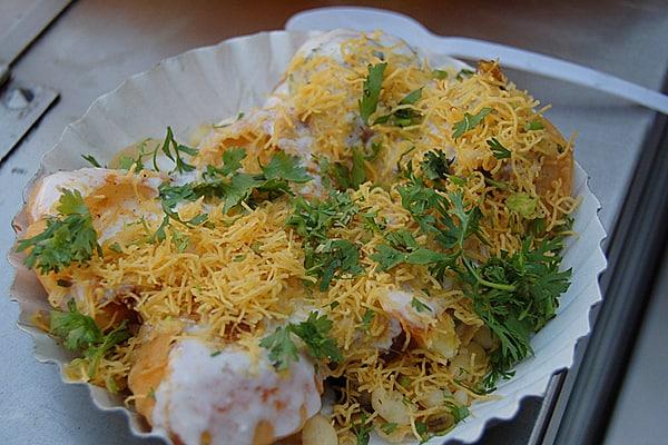 Dahi Batata Puri - potatoes served on crisp puris served with chutneys and yogart (courtesy of Tomi)