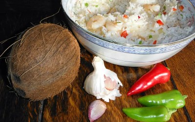 Burmese rice cooked in coconut milk
