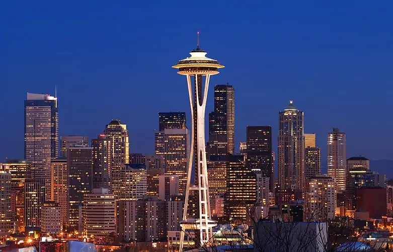 Seattle at dusk by Greg Vaughn