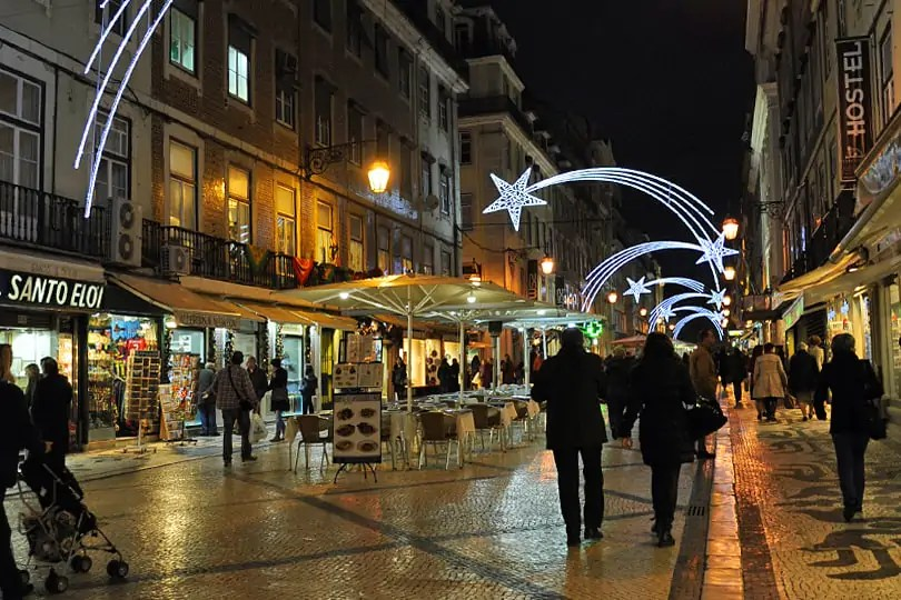 Lisbon at Christmas, by night
