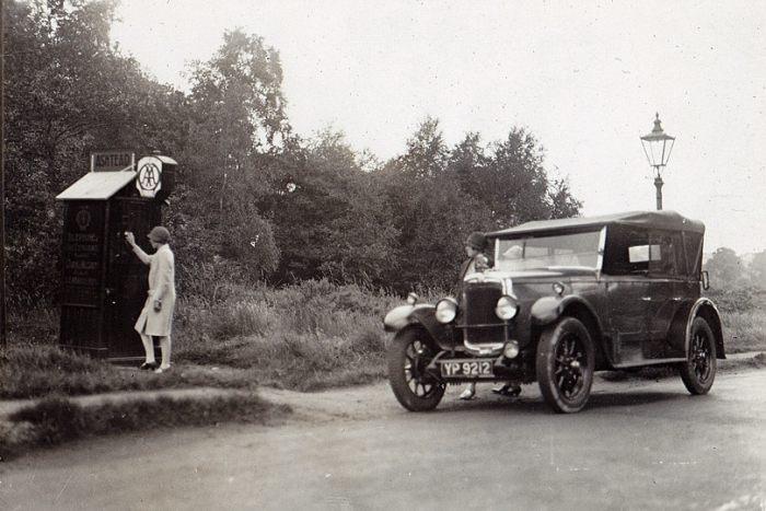 AA roadside telephone box c1926 - road tripping in Europe