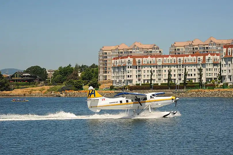 Float plane landing in Victoria's Inner Harbour, British Columbia, Canada