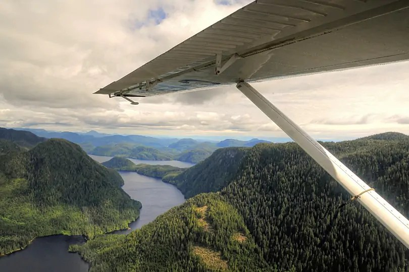 View from a de de Havilland Beaver DHC-2, of teh Great Bear Rainforest, British Columbia, Canada,