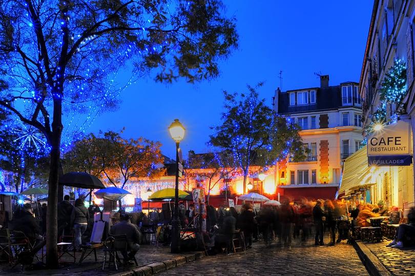 Place du Tertre, Montmartre, Paris at Christmas