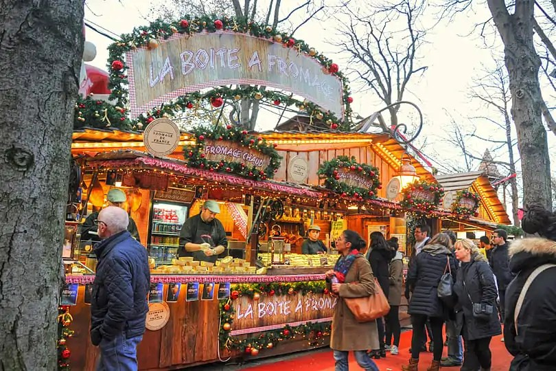 Cheese stall on the Champs-Elysées, Paris at Christmas