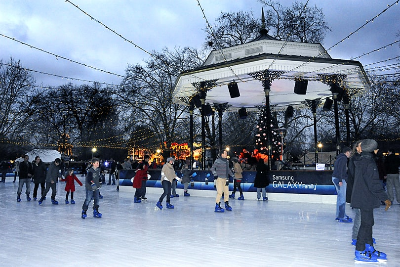 Ice skating at Hyde Park's Winter Wonderland, London
