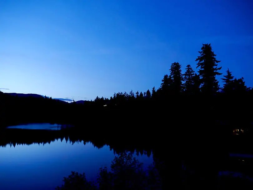 Night arrives late in Whistler in June Nita Lake at 10-30-p.m.-Photo-by-Johanna-Read-www.TravelEater.net