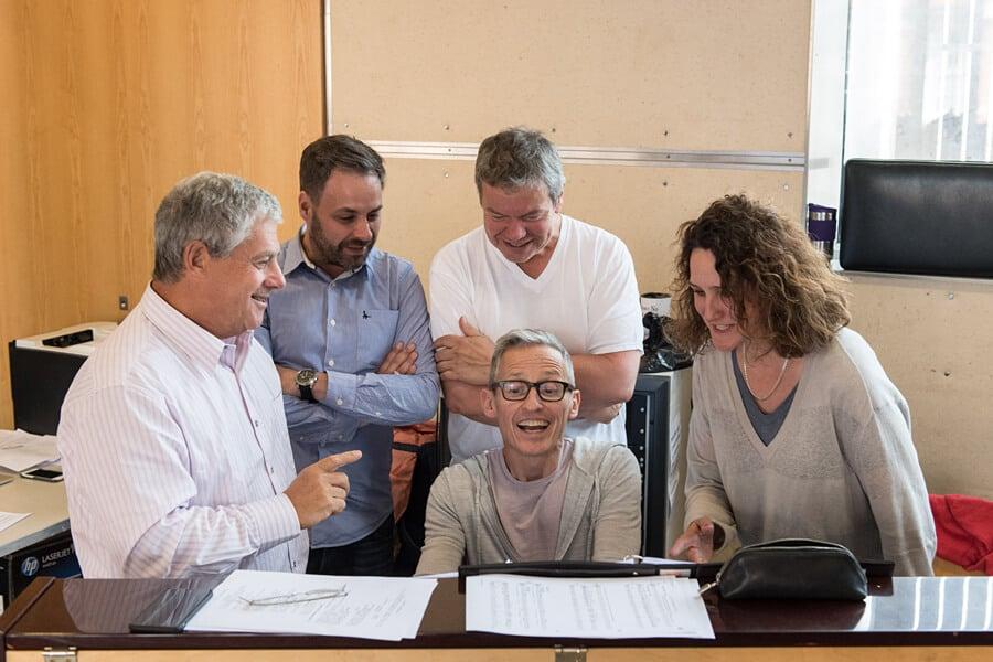 Cameron Mackintosh, Graham Hurman, Anthony Drewe, George Stiles, Rachel Kavanagh - HALF A SIXPENCE. Photo by Manuel Harlan