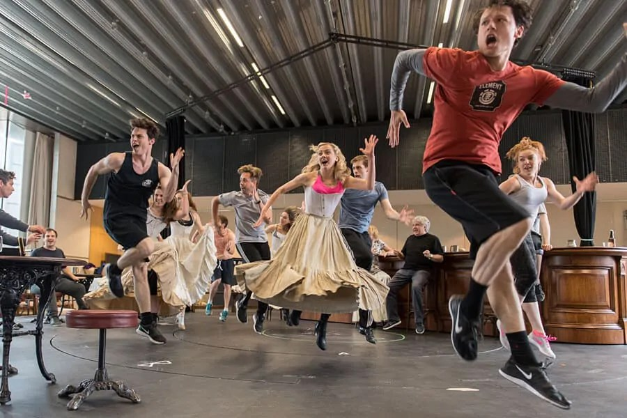 Rehearsing the new hit musical, Half a Sixpence