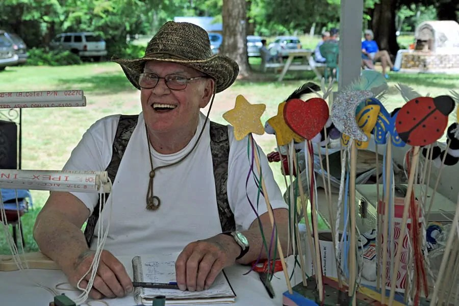 One of the many friendly craft stall holders who were happy to chat at Powell Rivers' Farmers' Market