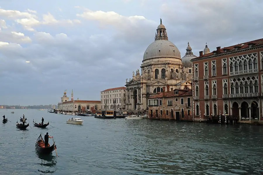 The Grand Canal at sunset, Venice, Italy