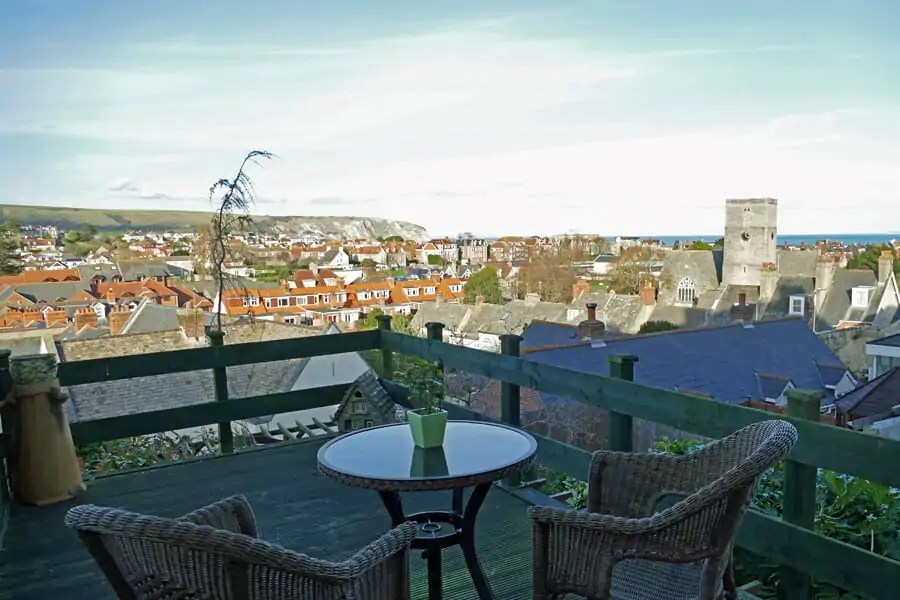 The view from the decking at The Pigeonhole, Wyke Dorset Cottages