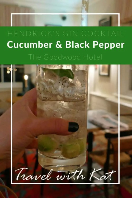 Hendrick's Cucumber and Black Pepper gin at The Goodwood Hotel, West Sussex, England