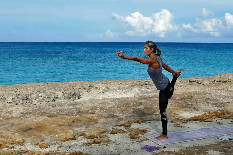 Yoga on the beach, one of my top 10 things to do in Aruba