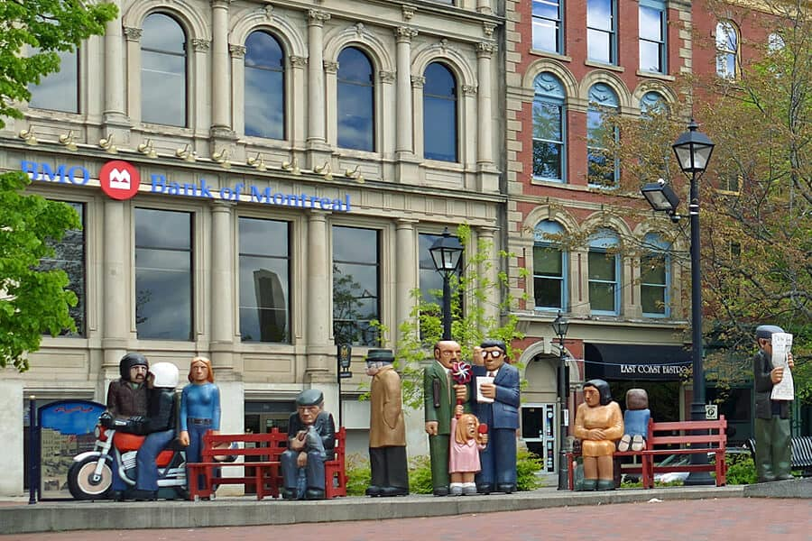 John Hoppers 'People Waiting', one of a number of colourful sculptures found around Saint John, New Brunswick, Canada