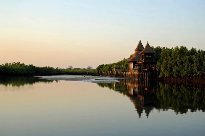 Sunrise at Mandina Lodges, Makasutu Forest, The Gambia by travel photographer, Kathryn Burrington