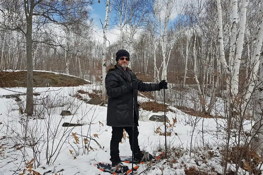 Neill snowshoeing in Canada