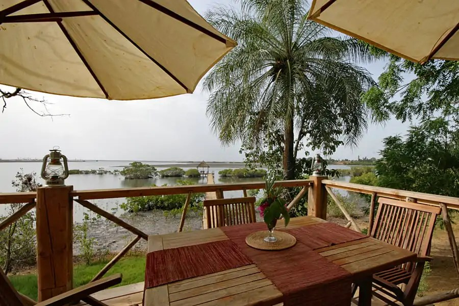 Verandah at Souimanga Lodge, Sine Saloum, Senegal