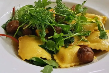 Pumpkin Ravioli with roasted butternut and chesntus at Home Restaurant, Belfast
