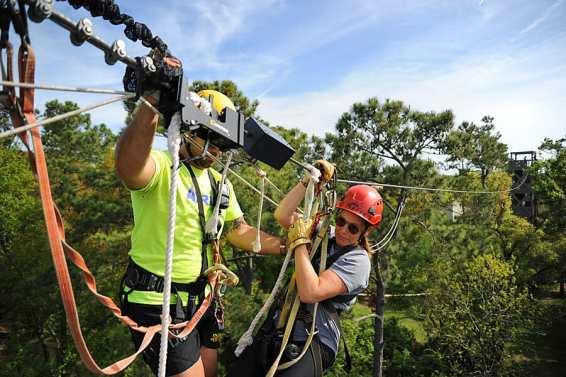 Helen ziplining on Hilton Head Island