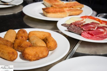 Croquettes and meats.
