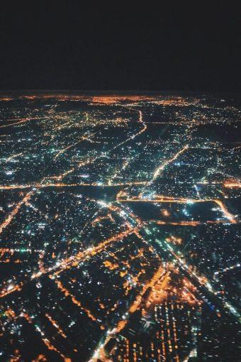 Review Lufthansa Business Class Airbus A321 Frankfurt - Kairo Kairo bei Nacht Lichtermeer