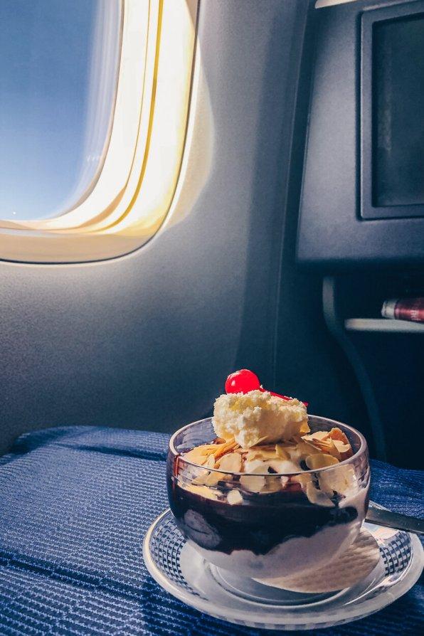 Review United Polaris Business Class Boeing 767 Dessert Sundea Eisbecher
