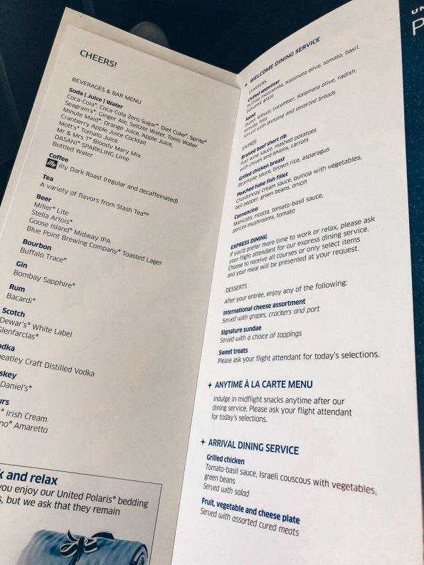 Review United Polaris Business Class Boeing 767 Pre-Menue-Karte