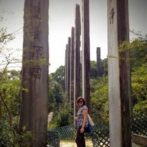 Kerstin walking down the Wisdom Path, Lantau Island, HK © TravelwithMK.com