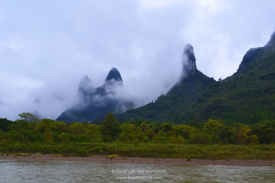 Karst mountains from the Li River, Guanxi, China © Travelwithmk.com