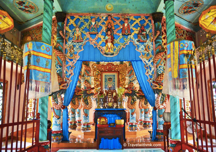 The interior of the Cao Dai Temple in Cai Be, Vietnam © Travelwithmk.com