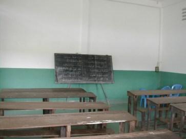 בתוך כיתת בית ספר בכפר של בני הצ'אם