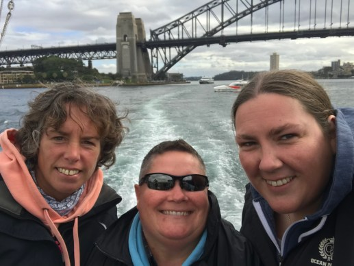 Onboard Oz Whale Watching with Sydney Harbour Bridge behind us
