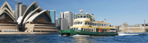 Sydney Ferry crossing in front of Sydney Opera House