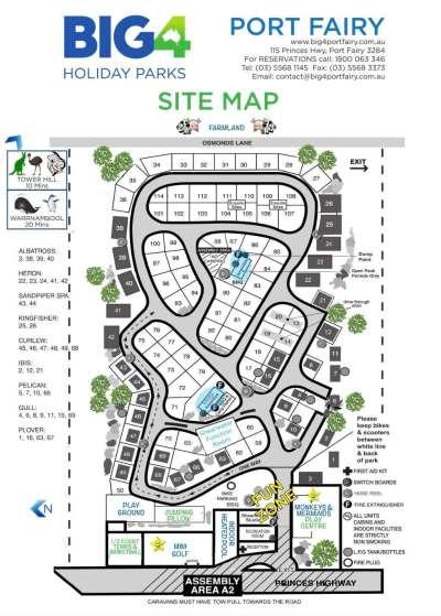 Port Fairy Big 4 Site Map