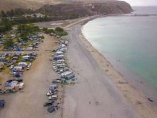 Aerial view of Rapid Bay Campground and beach