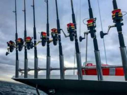 Fishing rods ready to go onboard Strike 1 Fishing Charter