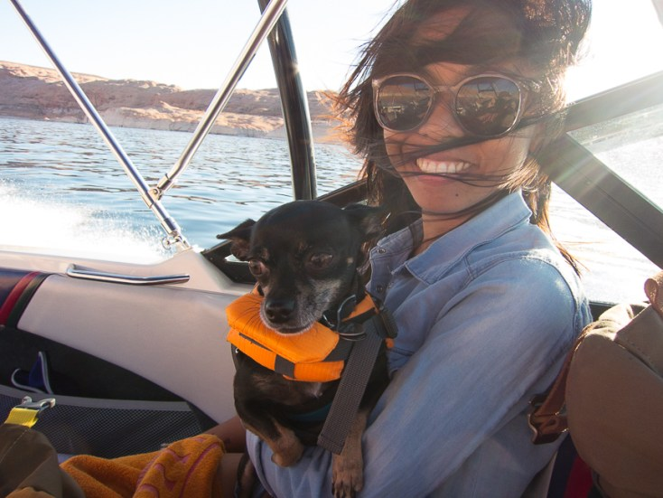 Lake Powell: on the boat with the cutest dog, Henry