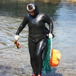 Korean Female Haenyeo Diver with Octopus