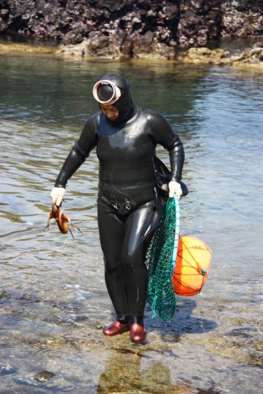 Korean Female Haenyeo Diver with Octopus