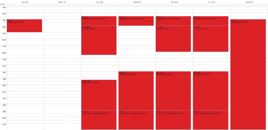 BHA Overnight Schedule