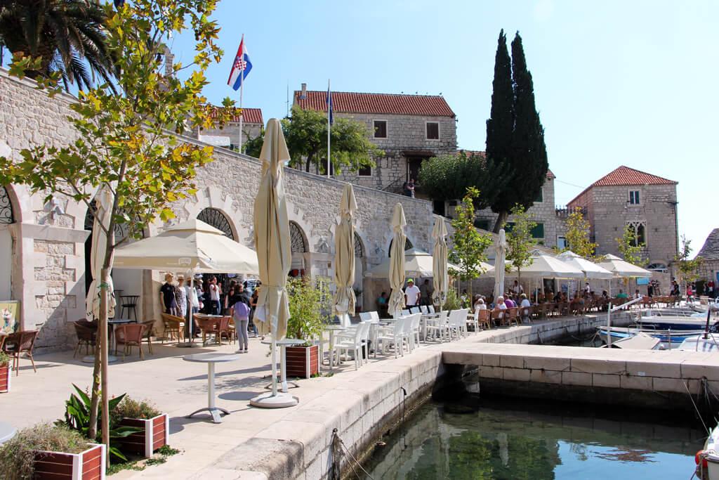 Croatian Seaside Restaurant Umbrellas