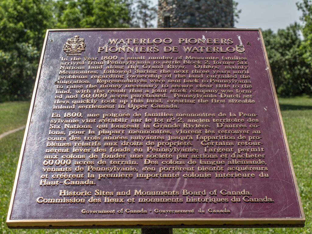 Historic Sites of Canada Plaque at Waterloo Pioneer Memorial Tower