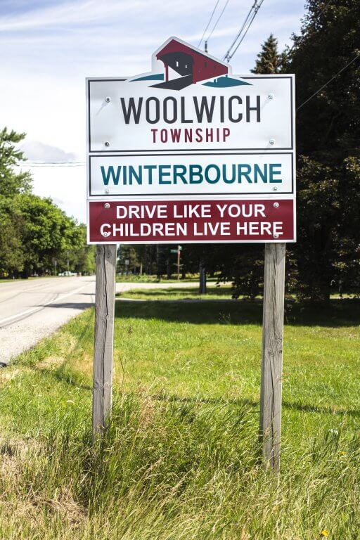 Woolwich Township Sign with Covered Bridge
