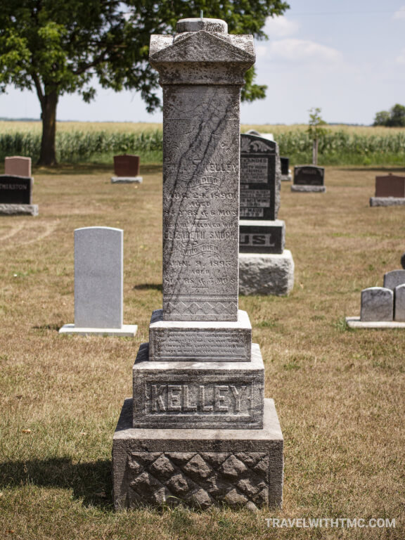 Maus Cemetery at Paris Plains Church - tall Kelley family headstone